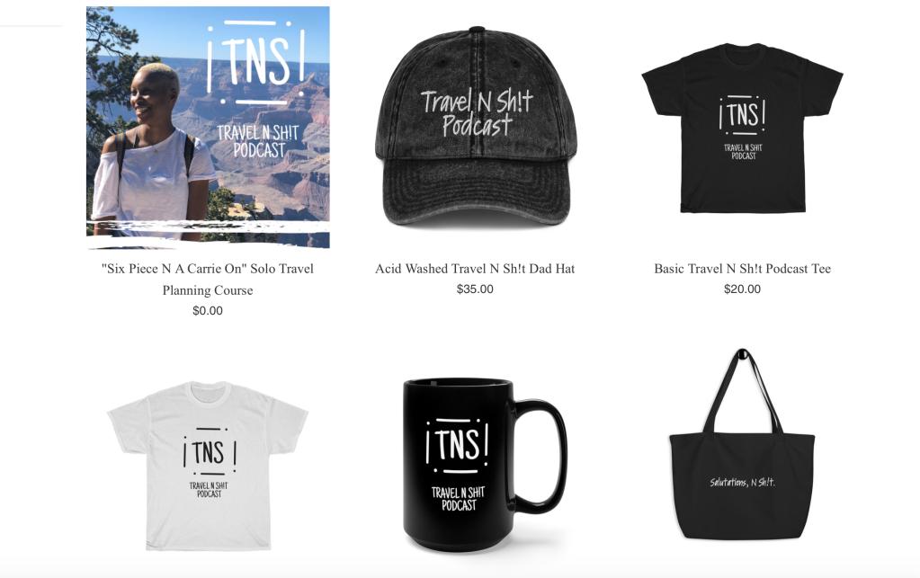 screen shot of Travel N Sh!t Shopify site